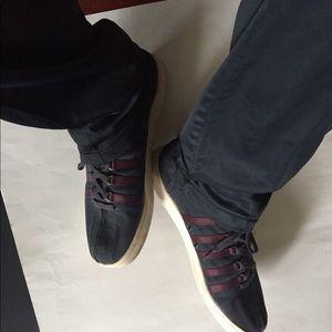 K-Swiss  black and burgundy sneakers